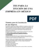 TRÁMITES PARA LA  CONSTITUCIÓN DE UNA  EMPRESA EN MÉXICO