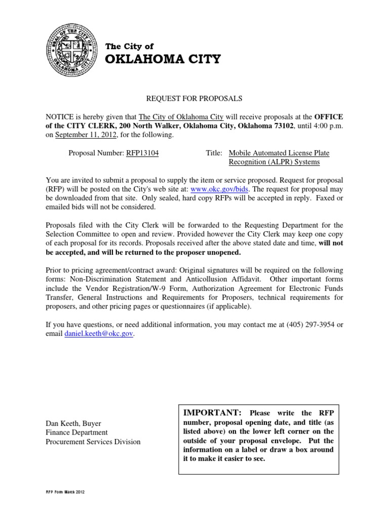 Oklahoma City RFP Mobile Automated License Plate PDF | Request For