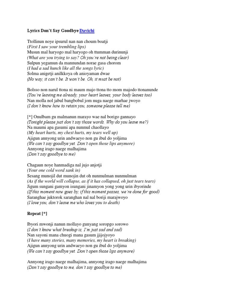 Goodbye when i lyrics say STARAR