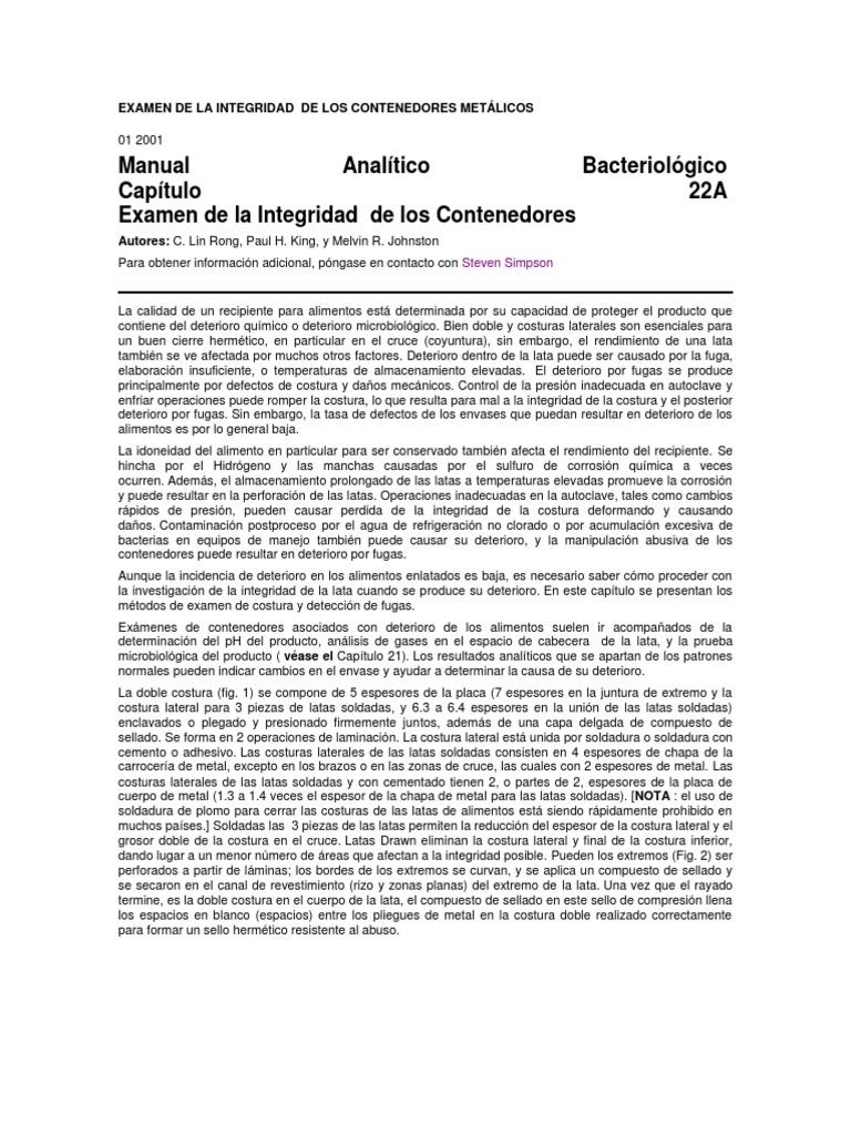 EXAMEN DE LA INTEGRIDAD DE LOS CONTENEDORES METÁLICOS (1)