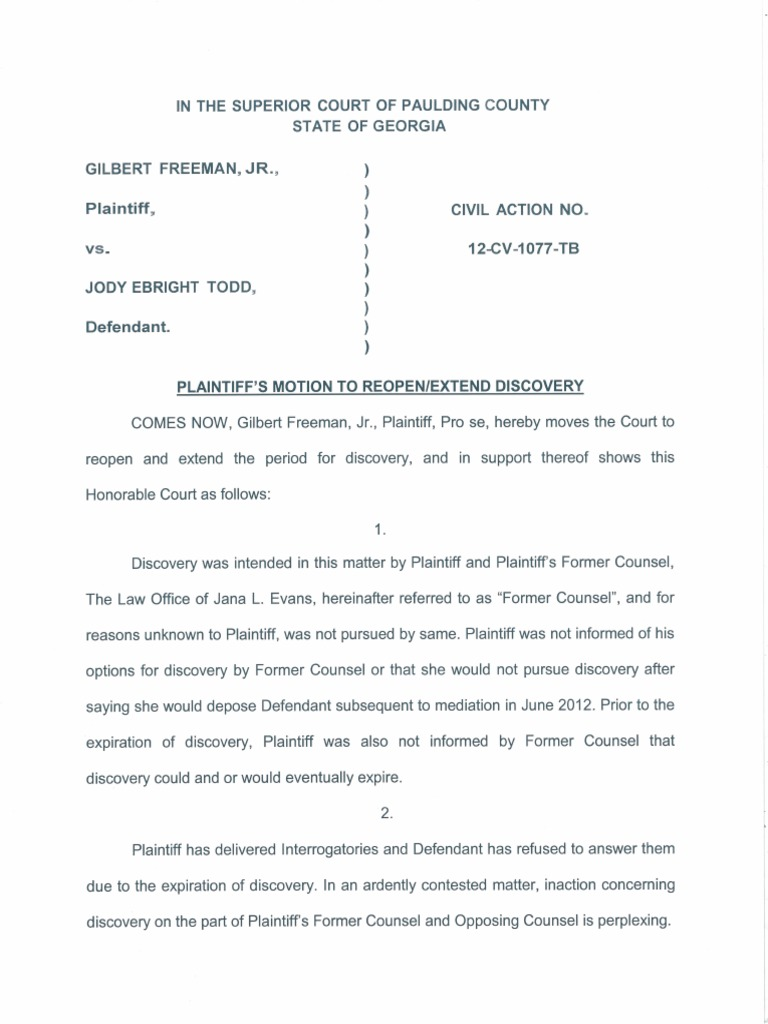 Plaintiff's Motion To Reopen/Extend Discovery_Redacted | Discovery