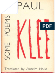 PAUL KLEE. Some Poems by Paul Klee. Translated by Anselm Hollo. 1962.