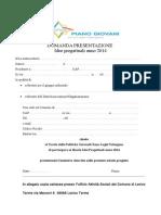 Domanda presentazione progetti 2014 Piano giovani zona Laghi Valsugana