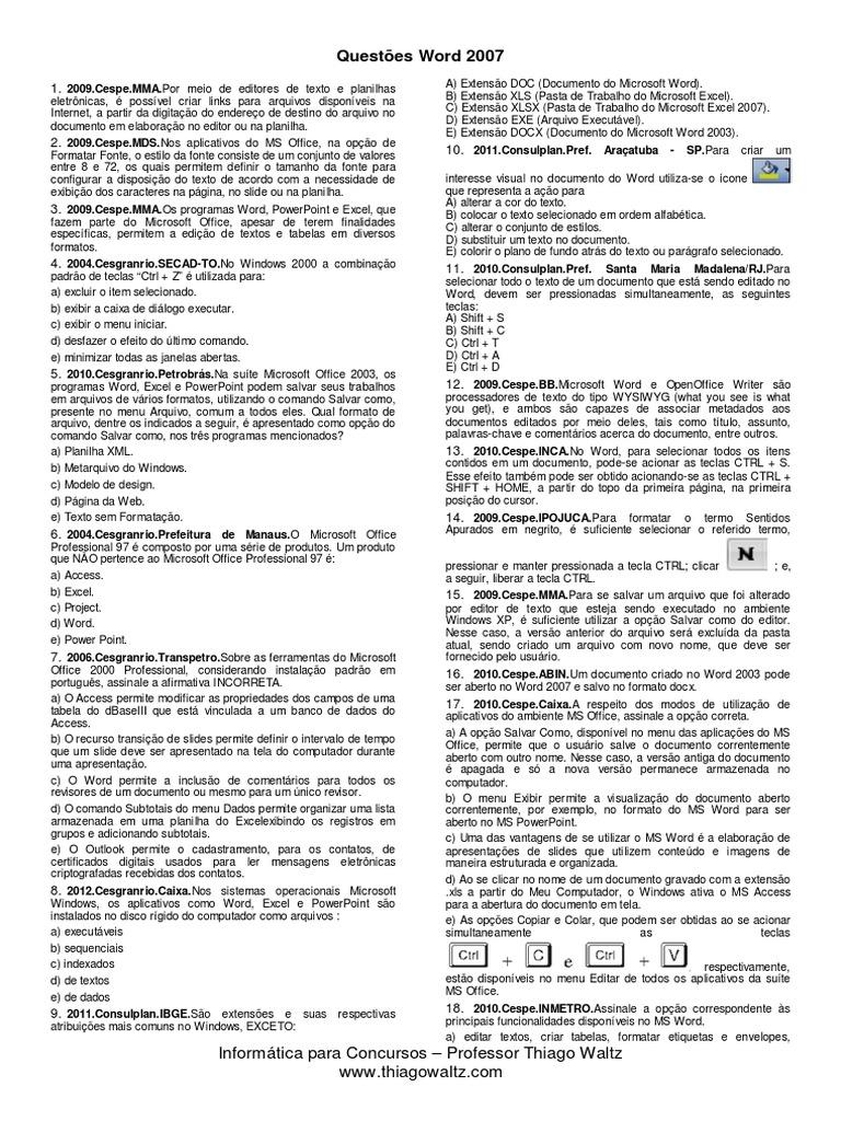 Questes microsoft word 2007 ccuart Choice Image