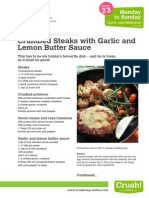 Crumbed Steaks with Garlic and Lemon Butter Sauce