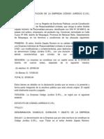 MINUTA DE CONSTITUCION DE LA EMPRESA CÓDIGO JURÍDICO E