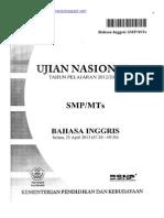 Naskah Soal UN Bahasa Inggris SMP 2013 Paket 1 (Edit Gelap)