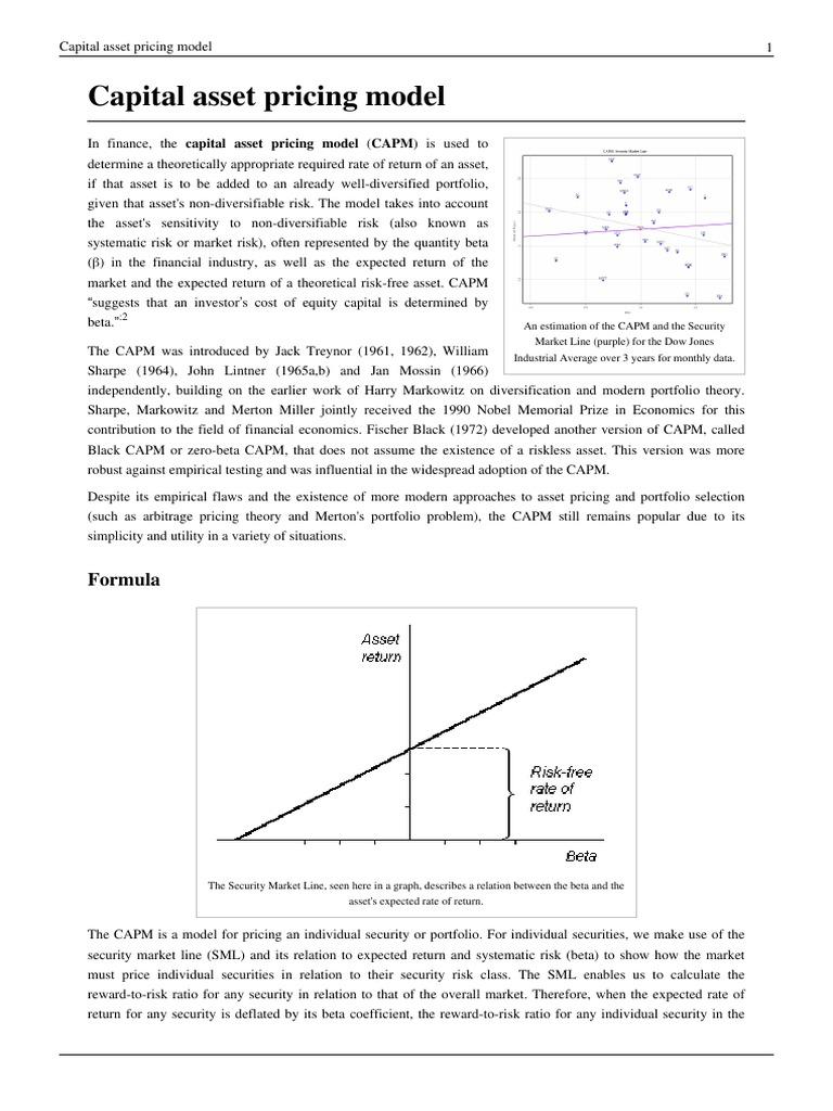 Capital asset pricing model | Capital Asset Pricing Model | Beta (Finance)