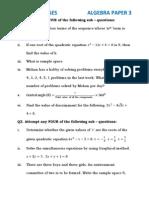 Algebra Question Paper 3