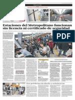 Estaciones del Metropolitano funcionan sin licencia ni certificado de Defensa Civil