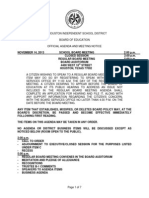 HISD Board of Education Agenda for Nov. 14, 2013 Meeting