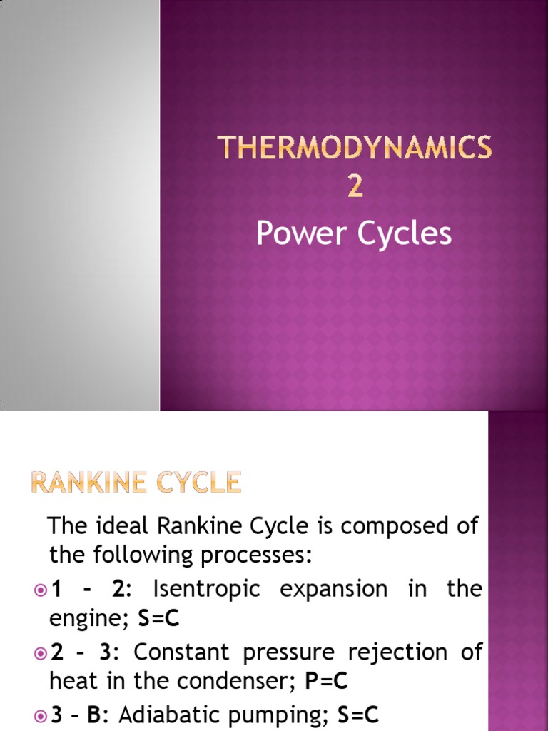 thermodynamics 2 rankine cycle pptx steam