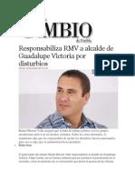 08-11-2013 Diario Matutino Cambio de Puebla - Responsabiliza RMV a Alcalde de Guadalupe Victoria Por Disturbios