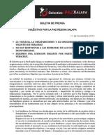 Desapariciones y secuestros en Veracruz. (Boletín de Xalapa por la Paz) 11/11/2013