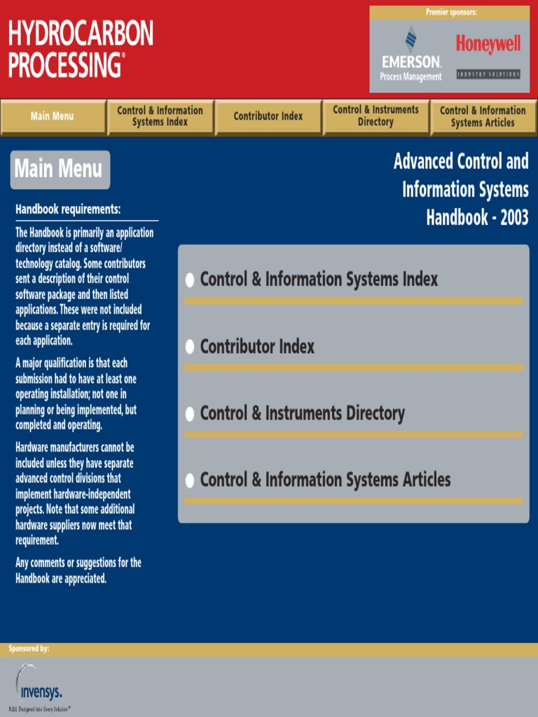 Main Menu: Advanced Control and Information Systems Handbook