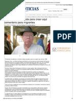 11-11-2013 'Formalizan propuesta para crear aquí cementerio para migrantes'
