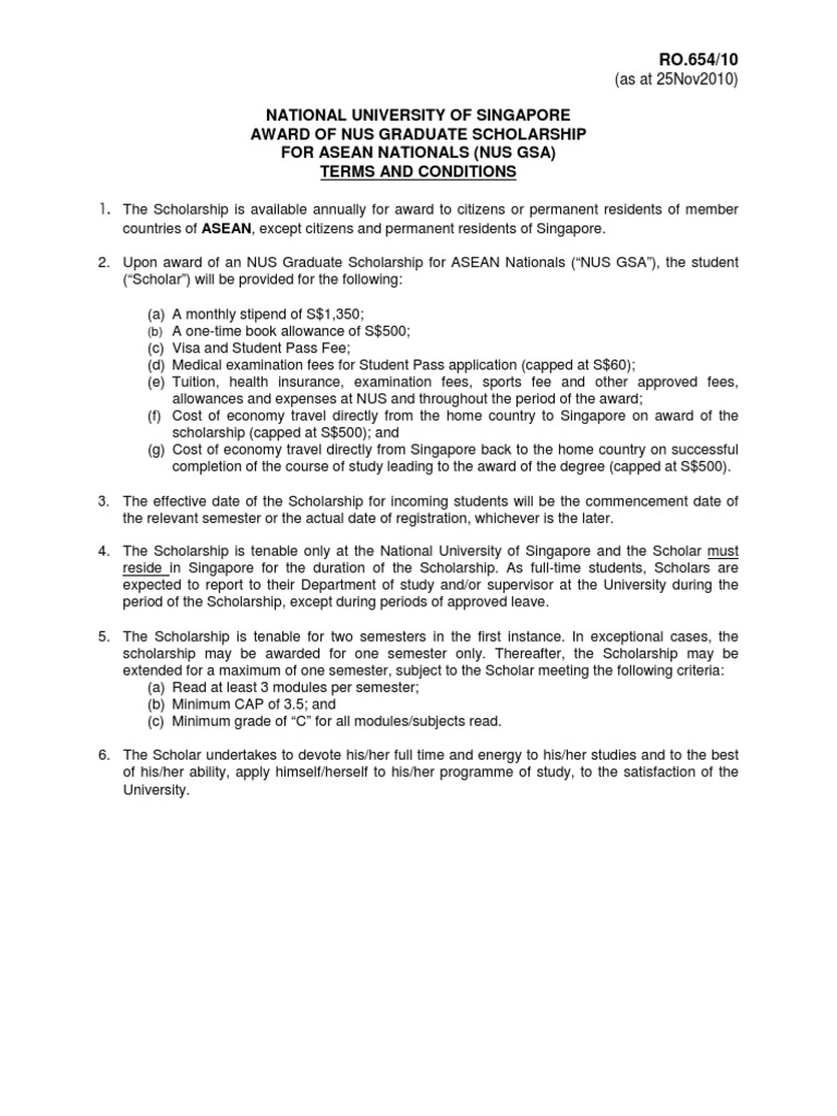 Nus Gsa Scholarship Terms And Conditions Pdf Permanent Residence