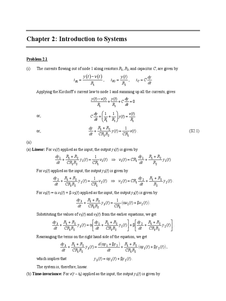 Continuous and Discrete Time Signals and Systems (Mandal & Asif) Solutions  - Chap02 | Nonlinear System | Mathematical Analysis