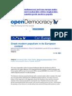 Greek modern populism in its European context