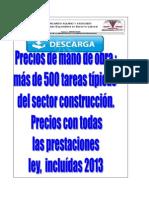 Precio Mano de Obra Construccion 2013 Venezuela