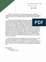Letter to Sen Lugar From State Dept on Honduras