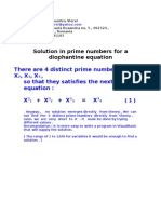 Solution in Prime Numbers for a Diophantine Equation
