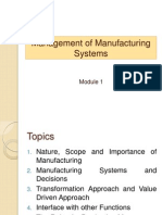 Management of Manufacturing Systems