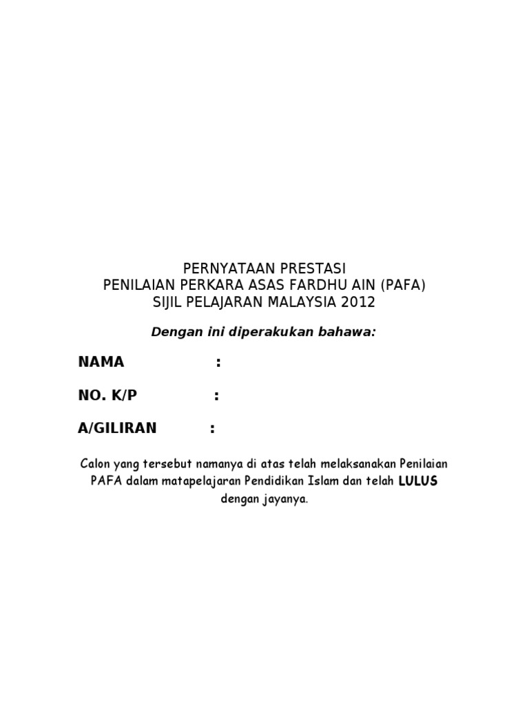 sijil pafa calon spm doc sijil pafa calon spm doc