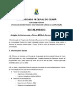 Edital Mestrado MDCC 2014