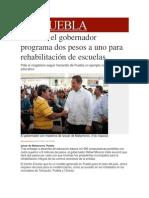 07-11-2013 Milenio.com - Anuncia el gobernador programa dos pesos a uno para rehabilitación de escuelas