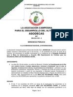 Denuncia Publica AMENAZAN a Delegados Para La MIA en CORDOBA