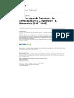 Linx 1013 9 Sous Le Signe de Saussure La Correspondance l Hjelmslev e Benveniste 1941 1949 1