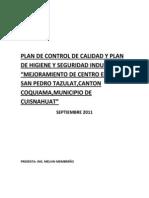 Plan de Control de Calidad y Plan de Higiene y Seguridad Industrial Tazula