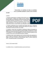 Acordos da assembléia provincial de Anova-Ourense (12/11/2013)