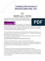 FMM Report  Violations of the Freedom of Expression Rights in Sri Lanka (Aug – Nov 2013)