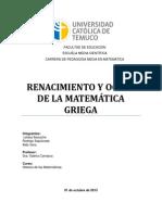 RENACIMIENTO Y OCASO DE LA MATEMÁTICA GRIEGA