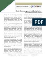 Master Data Management and deduplication
