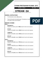 Kvpy Sa Test-paper (2013)