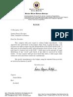 Sen. Miriam Defensor Santiago's letter to the Senate Committee on Finance - 11 November 2013