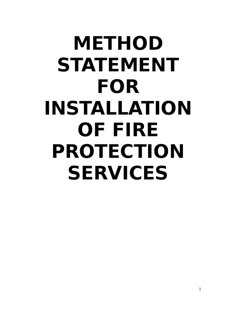 Work Method Statement for Fire Protection – Method Statement Template Doc