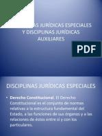DISCIPLINAS JURÍDICAS ESPECIALES Y DISCIPLINAS JURÍDICAS AUXILIARES