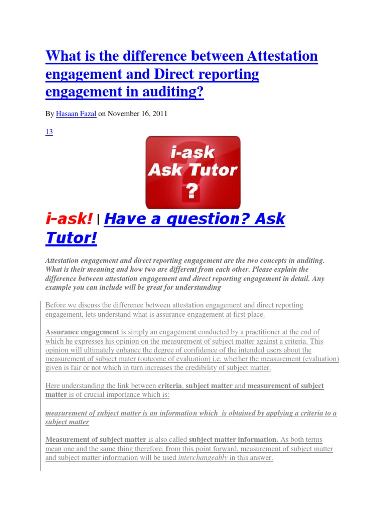 what is the difference between attestation engagement and direct