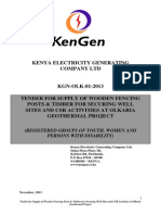 KGN OLK 81 2013 Tender for Supply of Wooden Fencing Posts & Timber for Olkaria Geothermal Project