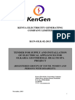 KGN OLK 82 2013 Tender for Supply and Installation of Electrical Appliances for Olkaria Geothermal Health Spa Project