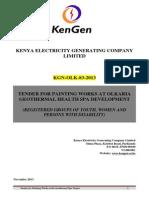 KGN OLK 83 2013 Tender for Painting Works at Olkaria Geothermal Health Spa Project