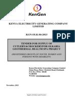KGN OLK 84 2013 Tender for Supply of Cutlery & Crockery for Olkaria Geothermal Health Spa Project