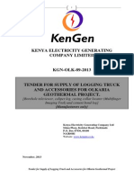 KGN OLK 89 2013 Tender for Supply of Logging Truck and Accessories for Olkaria Geothermal Project.