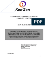 KGN OLK 95 2013 Tender for Supply of Scientific Laboratory Equipment for Olkaria Geothermal Resource Development