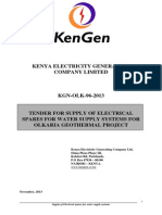 KGN OLK 96 2013 Tender for Supply of Electrical Spares for Water Supply Systems for Geothermal Resource Development