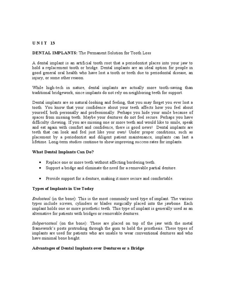 U N I T 13, 14 (2) doc | Dental Implant | Dentistry
